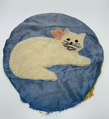 Antique Hooked Yarn Cat on Silk Pillow Cover