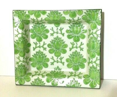 """TOZAI Porcelain Green White Decorative Plate Tray Handmade Floral Flowers 6 X 7"""""""