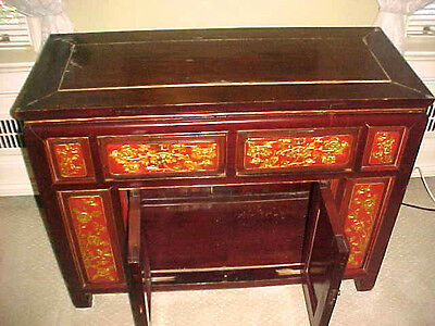 Chinese Chest With 2 Drawers 2 Doors. Total Carved 8 Panels