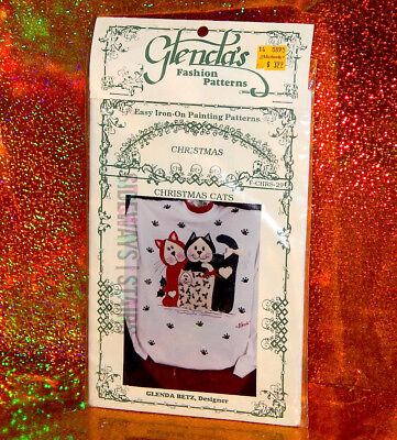 CHRISTMAS CATS Glenda's Painting Patterns holiday cat vintage craft supply 1995