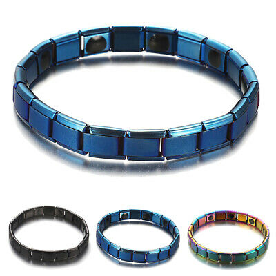 Unisex Therapeutic Energy Healing Bracelet Stainless Steel Magnetic Therap Hot
