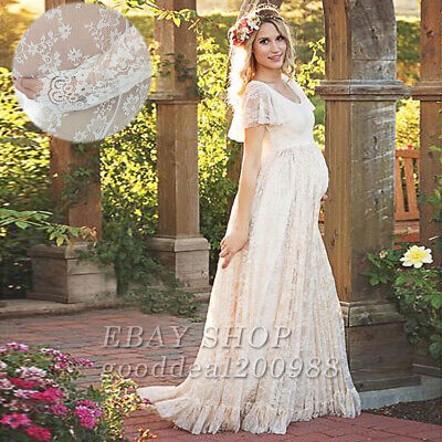 US Pregnant Women Lace Floral Long Maxi Dress Maternity Gown Photography Props *