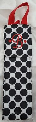 Wine Bottle Carrier Tote Bag Insulated Monogrammed B Black Red Personalized