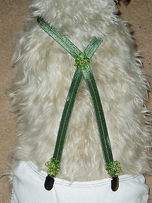 Dog-Suspenders-Pet-Diaper-Accessories--Shiny Green--Custom Made Small Sizes