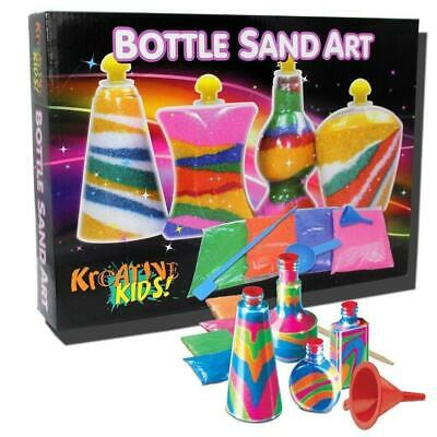 Childrens Bottle Glow Sand Art Set Make Your Own Activity Craft Kit Play Set NEW