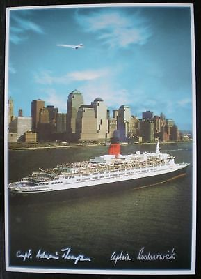 Unique 8 X 6 Postcard Signed Capt Concorde & Capt Qe2