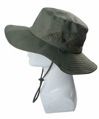 12bd8a241 MENS WIDE BRIM Bucket Boonie Cap Hunting Fishing Outdoor Sun Hat UV ...