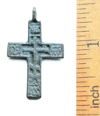 Ancient Russian Ortodox Bronze Cross Pendant (JUL55)