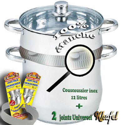 Couscoussier Inox 12 Litre induction + deux joints khafel Offert !