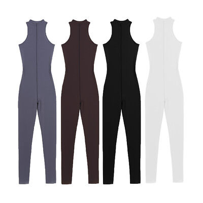 Women See Through Sleeveless Zipper Jumpsuit Leotard Catsuit Bodysuits Lingerie