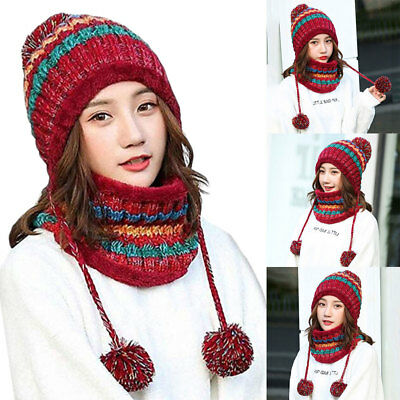 2PCS Women Knitted Scarf and Beanie Hat Pom Pom Hat Cap Set Warm Winter Scarf