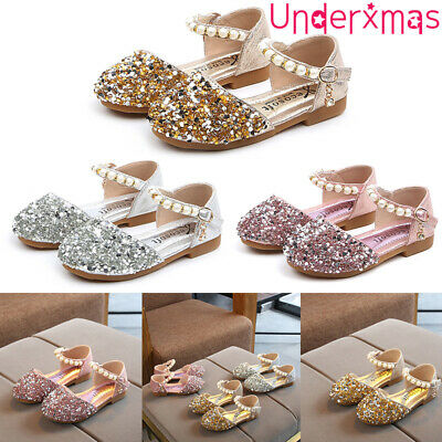 Child Girls Kids Glitter Sequins Pearl Flat Sandals Princess Wedding Party Shoes