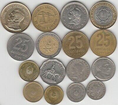 16 different world coins from ARGENTINA