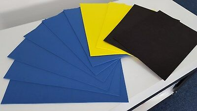 10 x A3 Sheets of JIFFY FOAM - For 3D Embroidery & Crafting - Blue/Yellow/Black!