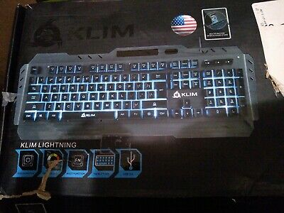 8c1443e6de8 Klim Keyboards Lightning Semi Mechanical Gaming - Wired USB Led 7 Colors  Metal