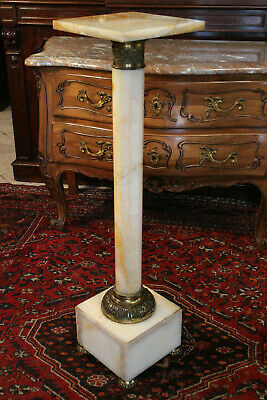 Colonne sellette piédestal en onyx et bronze style Empire
