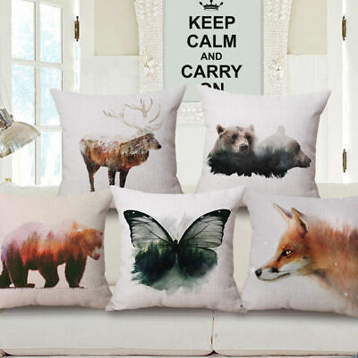 Nordic Bear Painting Watercolor Animal Decorative Throw Pillow Cover Cushion18''