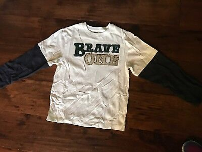 """NEW Gymboree Navy & Off-white Long Sleeve Shirt """"Brave One"""" in Boys 10"""