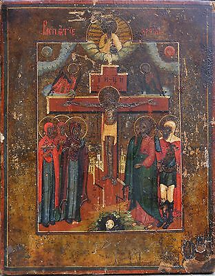 Alte Original  Ikone Russian Icon Russische Icona Icons Holz 18 - 19 Jh .
