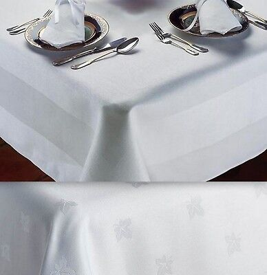 CLEARANCE Tablecloth White 100% Egyptian Cotton Table Linen Ivy Leaf /Satin Band