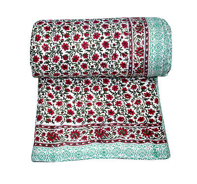 Floral Kantha Quilt Indian Handmade Cotton Comforter Blanket Bedding Throw Quilt