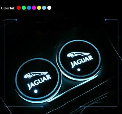 2x Jaguar LED Car Cup Holder gloss Pad with USB Auto Interior Atmosphere Lights