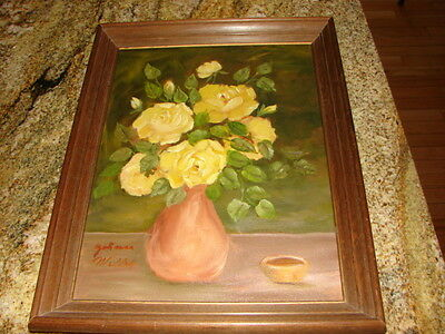 Vintage Estate Original Oil PAINTING YELLOW ROSES IN VASES SIGNED BY ARTIST