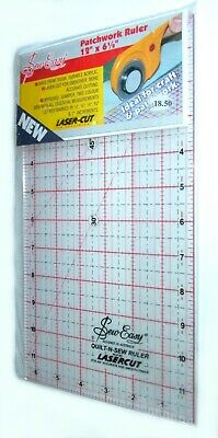 """Sew Easy Patchwork Ruler 12""""x6.5"""" Lasercut for Precision Crafts Quilting Sewing"""