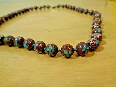 "Fine Old Chinese Hand Painted Brown Flower Porcelain Knotted 25"" Beaded Necklace"