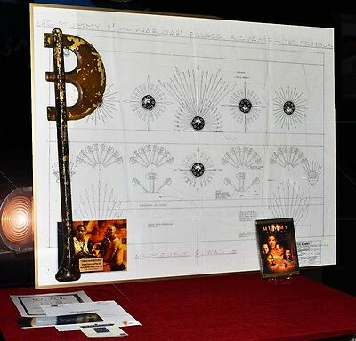 MUMMY Prop Screen-Used AXE + Set Blueprint Drawing COA, Picture Frame Plaque DVD