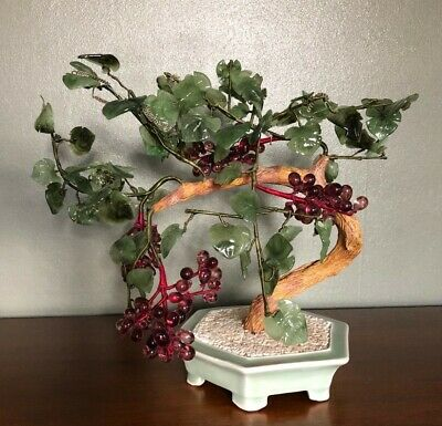 Vintage Chinese Jade Bonsai Tree Glass Grapes and Leaves
