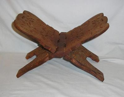 Vtg Carved Wooden Bible / Holy Book Stand
