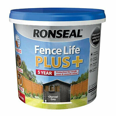 Ronseal Fence Life Plus+ 5 Litre Various Colours Garden Shed Fence Paint Protect