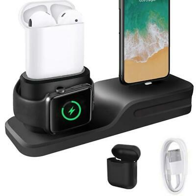 KEHANGDA 3 en 1 Chargeur Stand Docking Station Silicone for iPhone AirPods...