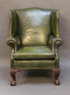 Late 19thc. Leather Wing Armchair with  Mahogany claw & ball legs