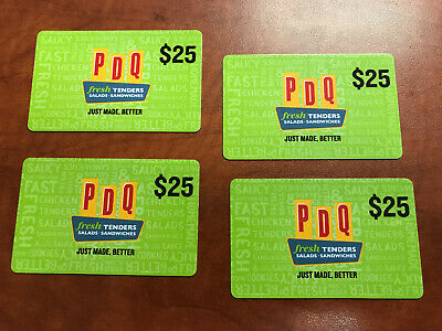 Four (4) $25 PDQ Chicken Tenders-Salads-Sandwiches Gift Cards - $100 Value