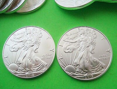 2016 & 2017 Two AMERICAN SILVER EAGLE 1oz Coins BOTH BRILLIANT UNCIRCULATED Mint