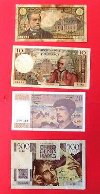 Billets Francais 5F VICTOR HUGO 10F VOLTAIRE 20F DEBUSSY 500F CHATEAUBRIAND