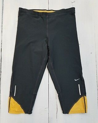 Nike Girl's Size M Capri Leggings Dri Fit Spandex Running Walking Gray/Gold