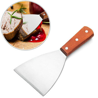 Stainless Steel BBQ Grill Scraper Wood Handle Griddle Kitchen Utensils Tools