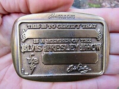 Vtg ELVIS SHOW Belt Buckle 1974 Concert TOUR Member GOLD CARD ID Badge RARE VG++