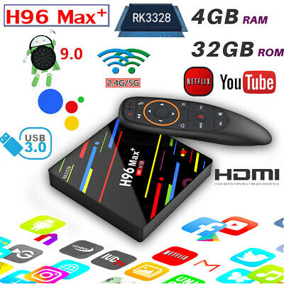 H96 Max Plus+ Voice Control Android 8.1 Smart TV Box 4+32GB WiFi 4K HDR10 RK3328
