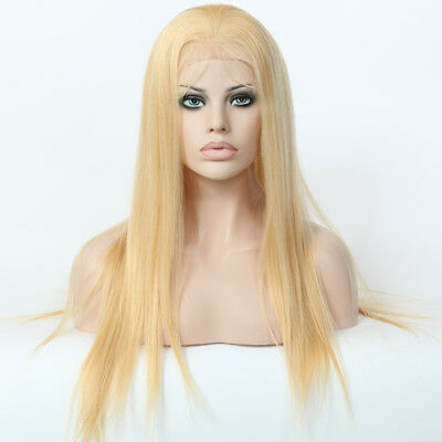 """Stock Full Lace Chinese #24 Straight Human Hair Wig 20"""" w Silk Top 130% Den"""