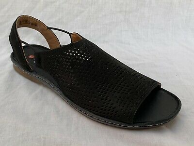 860a611d966b BNIB Clarks Unstructured Ladies Sarla Cadence Black Nubuck Leather Flat  Sandals