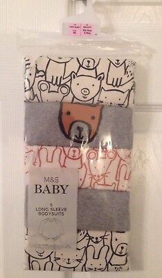 Baby Marks And Spencer 5 Pack Long Sleeved Bodysuits - Age Tiny Baby BNWT