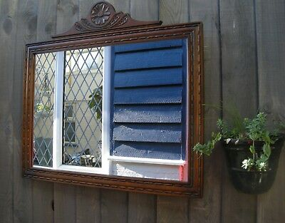 Rare Old Charm Wood Bros Over Mantle Wall / Hall Mirror Very Clean Condition