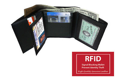 Rfid Blocking Genuine Leather Men's Trifold Wallet 2 Id Center Flap Card