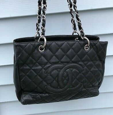 e5df53323095 AUTHENTIC CHANEL GST Grand Shopping Tote, Black with Silver Hardware ...