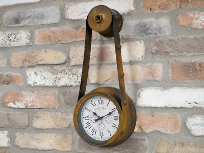 Industrial vintage style wall clock metal steampunk factory antique rustic NEW