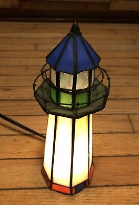 Light House Shaped Stained Glass Table Lamp House Sailor, Same Day Shipping!